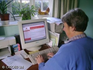 A woman is sitting at a desk near a window, using a computer.  She is reading some information displayed on the computer screen.