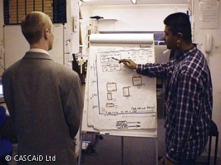 A man is standing by the side of a white flipchart, pointing to some diagrams and handwritten notes on it.  Another man is standing in front of the flipchart, looking at it.