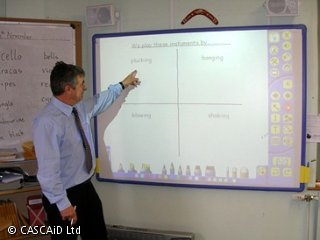 A man is standing at the front of a classroom.  He is pointing to a word on an interactive whiteboard.