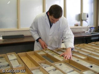 A man, wearing a white lab coat, is measuring a rock core sample which is inside a long, rectangular box.  There are many more rock core samples in boxes on a table in front of him.