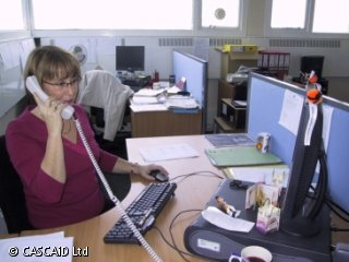 A woman is sitting at a desk in an office.  She is using a computer and speaking on a telephone.