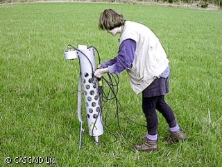 A woman is standing in a field using a piece of scientific equipment.